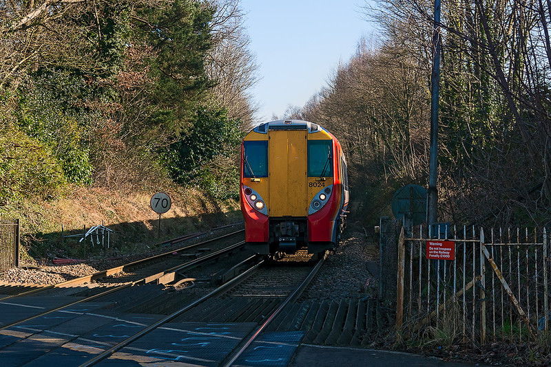 19th Feb 13:  The 12.50 from Waterloo to Reading arrives at Sunningdale in the hands of 458024