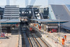 18th Feb 13:  The new platforms 14 & 15 taking shape at Reading.  Reflections in the glass cause the  funny lines