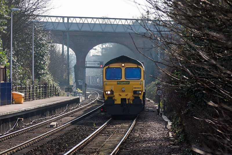 18th Feb 13:  The Southampton to Trafford Park liner powered by 66502 leaves the famous cutting at Reading West