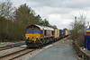 6th Feb 13:  66115 crosses the new track access point at Mortimer while working 4M55 from Southampton to Birch Coppice.