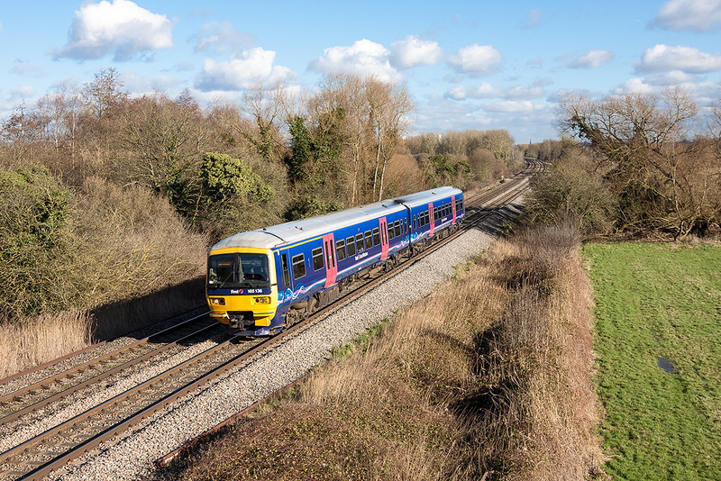 2nd Feb 13:  Captured at Burghfield Bridge is 165136 forming 2K58 the 13.12 from Reading to Newbury