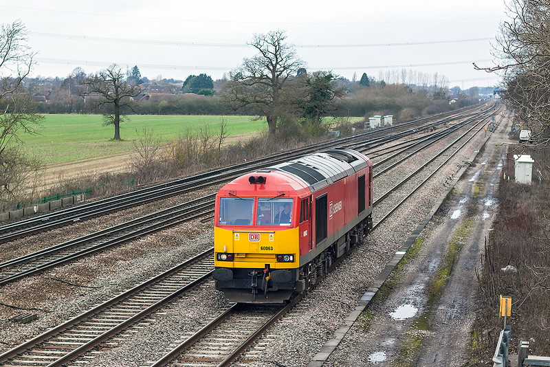 8th Jan 13:  The early info was there there would be a good load on the morning Hinksey to Eastleigh Departmental but it was not to be.  66063 ran light and is pictured here  leaving Didcot