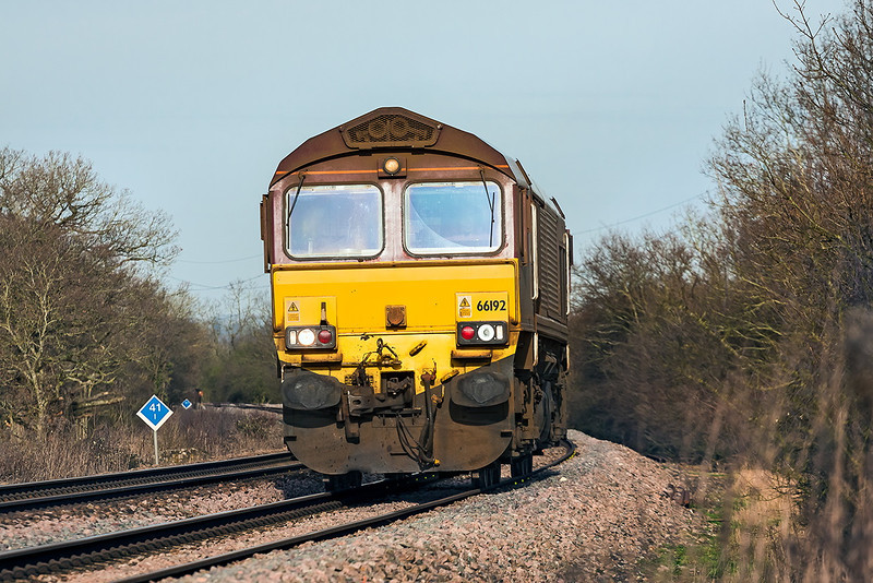 26th Dec 13:  A head on shot helps to diguise the fact that the afternoon Departmental from Hinksey to Eastleigh ran as a light engine.  66192 is seen from Danes Crossing