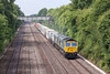 12th Jul 13:  Double stamps on 4L31 from Bristol FLT to Felixstowe as 66567 & 66580 trot towards the Chalkpit Lane bridge between Twyford and Maidenhead