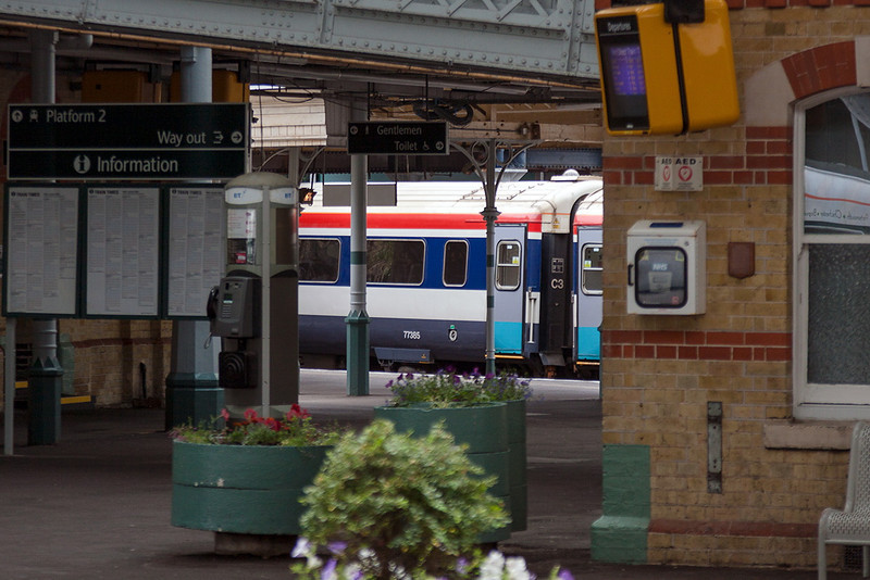 4the July 13:  I had not expected to see a Class 442 Gatwick Express set at Lewes on the 18.25 London Bridge to Eastbourne