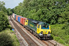 1st Jul 13:  Pictured from the Park Lane bridge near Silchester is 70006 hauling 4O09 from Trafford Park to Southampton