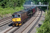 29th Jun 13:  33207 leads 44932 on 5Z81 the ECS move from Southall to Bristol Kingsland Road.  Seen here sweeping round the curve at Pirbright