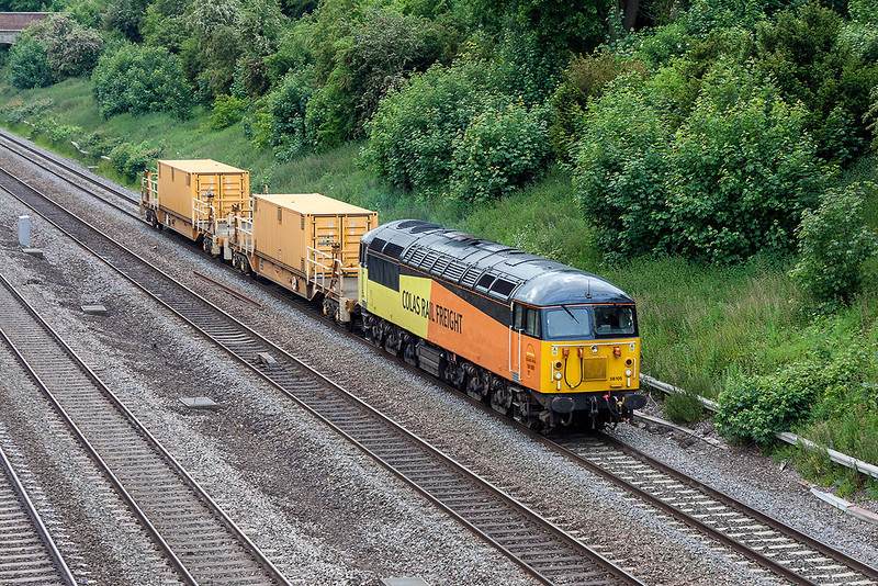 10th Jun 13:  Running over 80 minutes late is 6Z56 powered by 56105 from Crewe Basford Hall to West Ealing.  Captured from the Southbury Lane bridge in Ruscombe