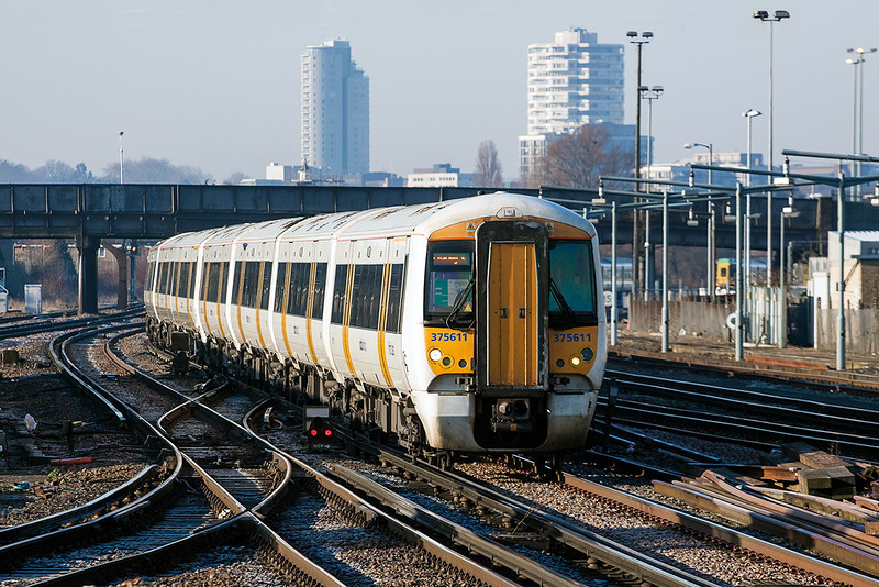 31st Mar 13:  375611 tears through Norwood Junction on the 07.44 Tonbridge to Charing Cross