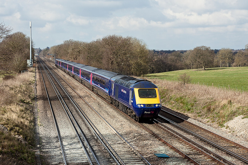29th Mar 13:  The leading power car on the 05.50 from Plymouth to Waterloo is 43069.  Diverted to this route due to the closure of Reading station to all main line services