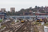 2nd March 13:  Other than  Platform 1 on the  far left Guildford Station is closed for turnout renewal at the tunnel mouth.  66615 rests in Platform 5 and 66523 can just be seen at the far end of Platform 2.  In the sidings are 455703 , 458016 & 455 ???