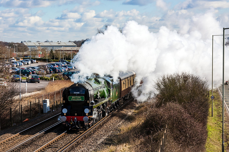 13th Mar 13:  Charging through Amen Corner in Bracknell is 35028 'Clan Line' powering the Orient Express from Victoria to Bristol Temple Meads