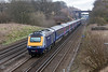 29th Mar 13:  Just missing the sun1V31 the 09.08 Waterloo to Penzance powered by 43032 & 43177 thunders down the grade from Winchfield to Fleet
