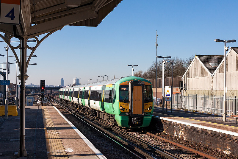 31st Mar 13:  377108 working  the 07.53 from Horsham to London Bridge arrives at Norwood Junction
