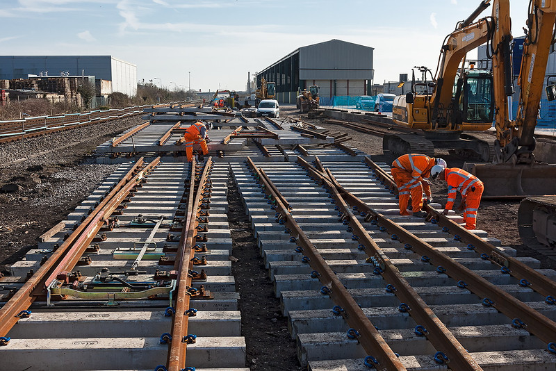 4th Mar 13:  New pointwork being readied for installation nat Newhaven.  The new siding loop will enable the ash trains from the Recycling facility to be loaded clear of the running lines