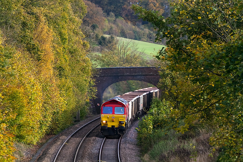 7th Nov 13:  Catching some Autumn light is 59206 working 7V07 empties from Chichester to Merehead through Norton Bavant