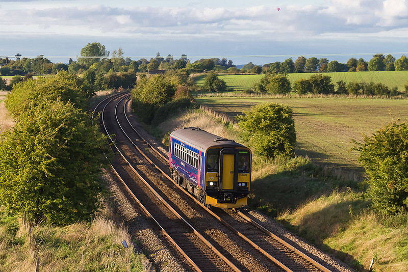 5th Oct 13:  153382 is forming 2F96 the 17.08 from Westbury to Warminster approaches Granada Bridge.  It's next working will be to Great Malvern