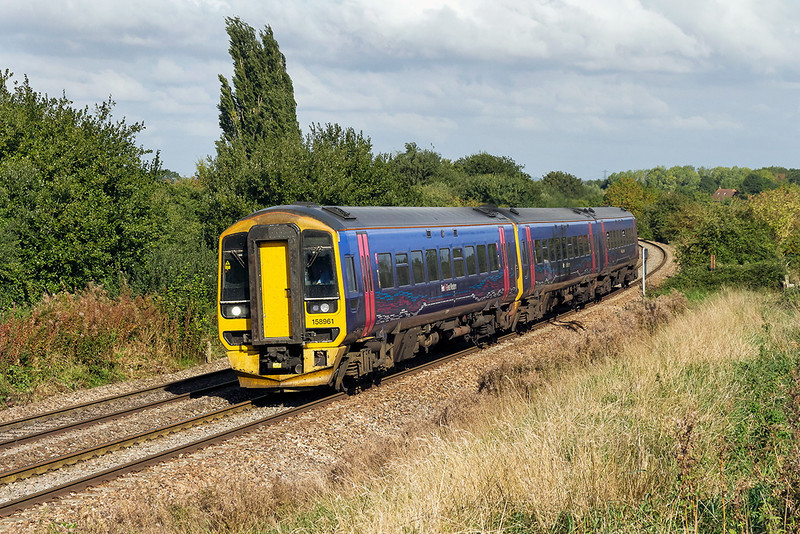 11th Oct 13:  The 09.30 Cardiff to Portsmouth Harbour, 1F09, in the hands od 158961 nears Hawkeridge Junction