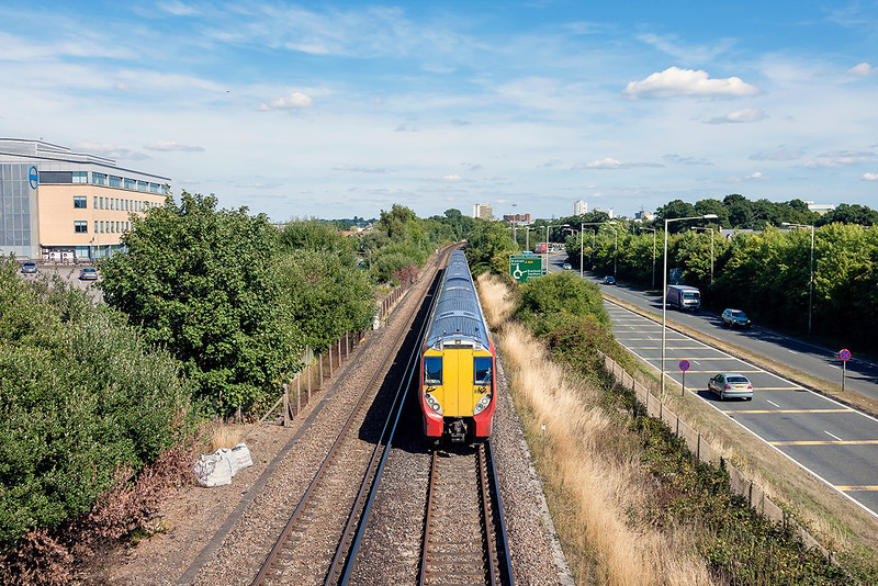 2nd Sep 13:  The wide view at Amen Corner as 458029 & 458014 work 2C37 the 13.20 Waterloo to Reading
