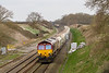 16th Mar 14:  With evidence of new signalling works being undertaken 66213 runs down through Compton Beauchamp with 6B35 from Hayes to Moreton-on-Lugg.  The Westbury to Stud Farm is in the distance