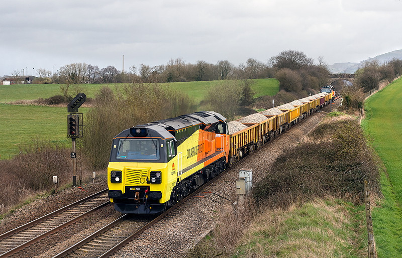 18th Mar 14:  On their first trip to Devon are 70802 & 70803 working 6Z70 from Westbury to Exeter St Thomas.  The location is Fairwood