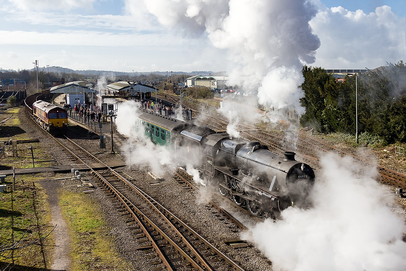 """1st Mar 14:  Not quite the shot that I planned but such is life.  44932 departs from Westbury with""""The Cathedrals Express"""" from Victoria to Cardiff"""