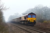 13th Mar 14:  66015 at the site of Fairwood Troughs while working 6Z75 frpm Whatley to Oxford Banbury Road.  In theory the mist should have dispersed by lunch time...In Theory !