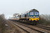13th Mar 14:  De-branded 59004 heads west away from Fairwood Junction with 6V18 from Hither Green to Whatley on a day when the fog and mist lingered all day.