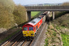 31st Mar 14:   Passing under the Warminster By-Pass near Heytsbury is 529204 with 6V12 the empties returning from Woking to Merehead