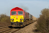 19th Mar 14:  59203 with 59004 DIT heads 7V17 from Fareham to Whatley away from Fairwood Junction