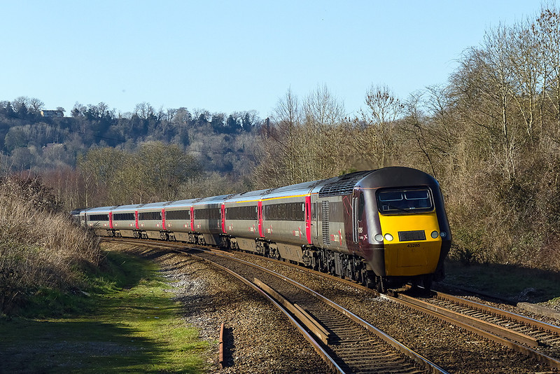 9th Mar 14:  Still diverted due to the flooding on the Smerset levels is 1V52 the 09.30 from York to Exeter.  TnTby 43285 and 43303 the train is pictured at Freshford
