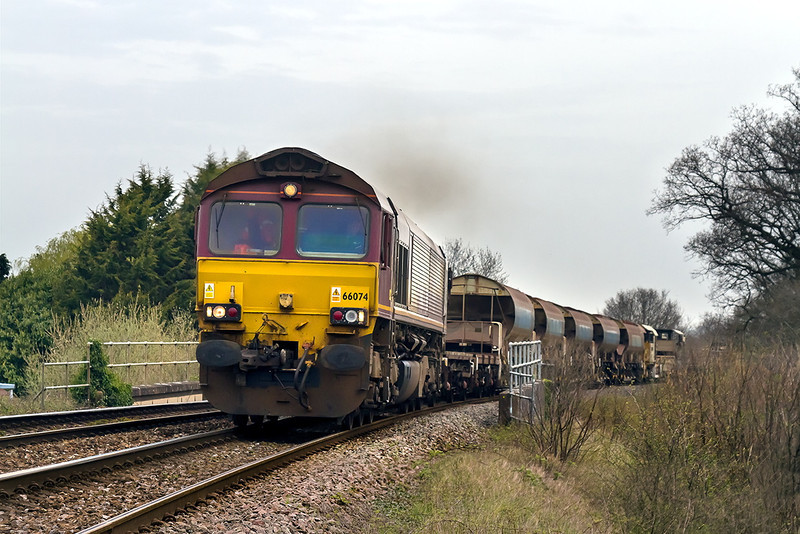 31st Mar 14:  The morning departmental from Westbury to Eastleigh in the hands of 66074 grinds it's way uphill through Dilton Marsh