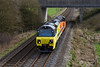 3rd Mar 14:  Colas 70805 running as 0Z31 from Eastleigh to Westbury is captured near Heytesbury