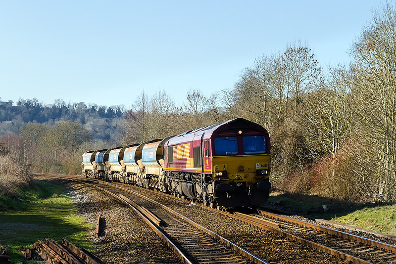 9th Mar14:  Rattling though the Avon Valley at Freshford is 66155 working 6W01 from Carmarthen to Wwstbury