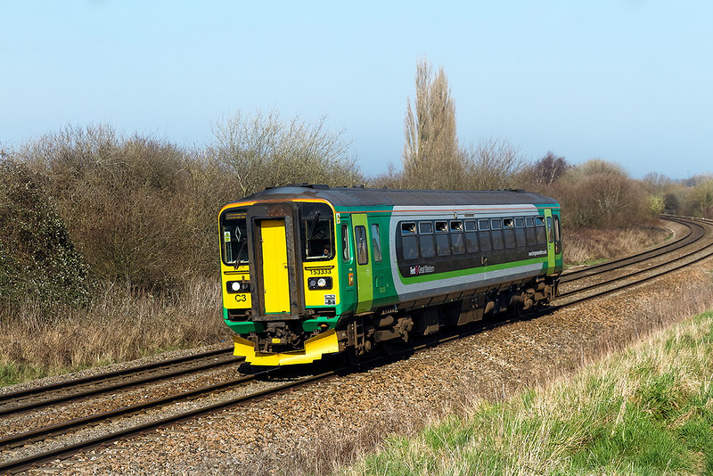 9th Mar 14:  153333 is again tasked with the Westbury Swindon shuttle.  Captured here nearing Hawkeridge Junction with the 11.36 from Swindon