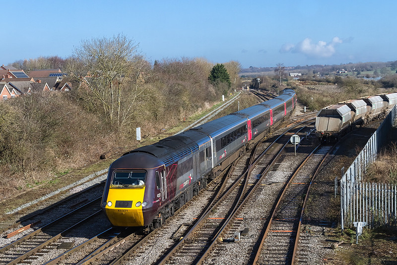 1st Mar 14:  Cross Country HST  ste with 43321 TnT 43378 formimg 1V44 the 06.00 from Leeds to Exeter at Westbury