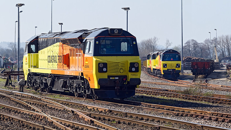 9th Mar 14: 3 of the new Colas Class 70 #70803/804/805 are at Westbury awaiting their next duty