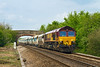 30th Apr 14:  66015 drifts through Hawkeridge while working 6A83 from Avonmouth Bennetts Siding to West Drayton
