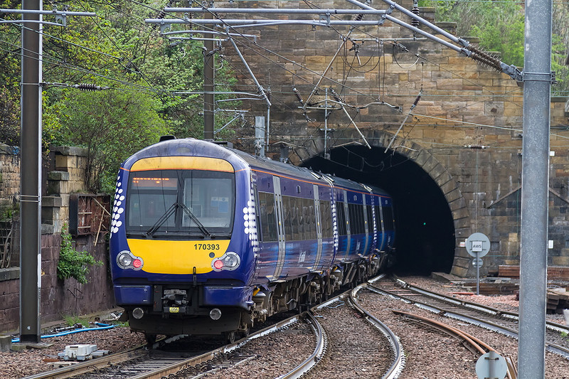26th Apr 14:  Deparing west form Edinburgh Waverley is 170393 forming 2K26 the12.21 from Glenrothes with Thornton to Newcraighall