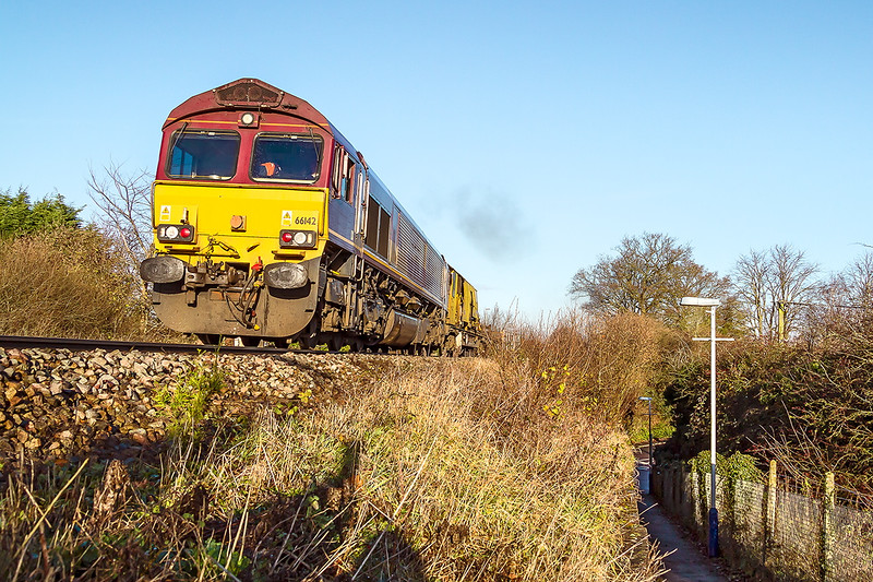 16th Dec 14:  Attacking the climb through Dilton Marsh is 66142 working 6O41 departmental from Westbury to Eastleigh