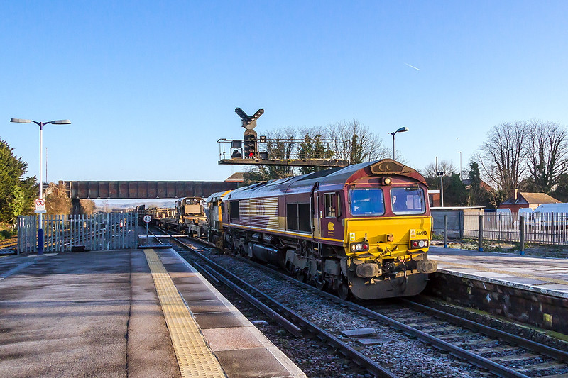 28th Dec 14:  With a sharp frost laying on the groiund  66013 runs through Platform 1 at Westbury with 6W97 from Foxhall Junction.