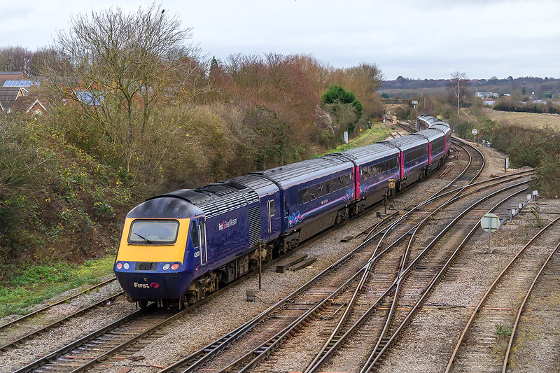 21st Dec 14:  Leaving Westbury 43026 is on the rear of 1A78 the 08.40 from Plymouth to Paddington.  Due to closure of the B & H for engineering works the service is being diverted to run Via Melksham and Swindon.