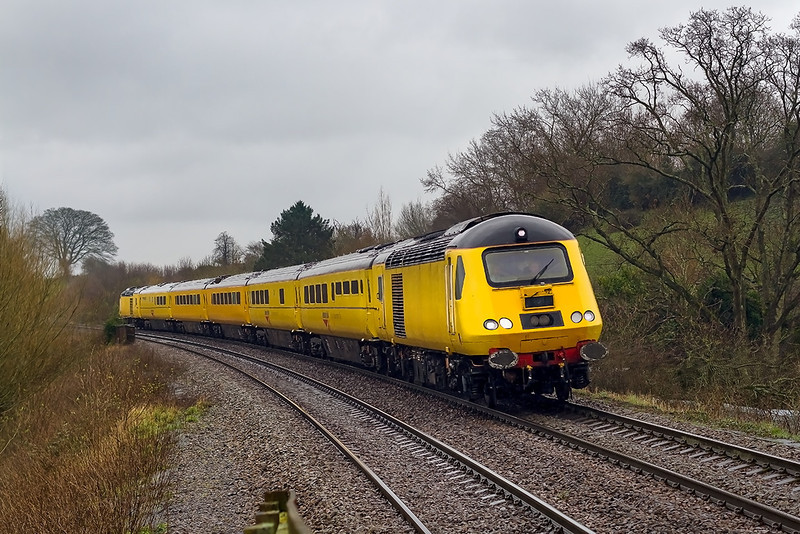 28th Feb 14:  1Q23 is working from Westbury to Westbury via Salisbury and Exeter powered by 43013 and 43014.  Captured in steady rain at Dilton Marsh.