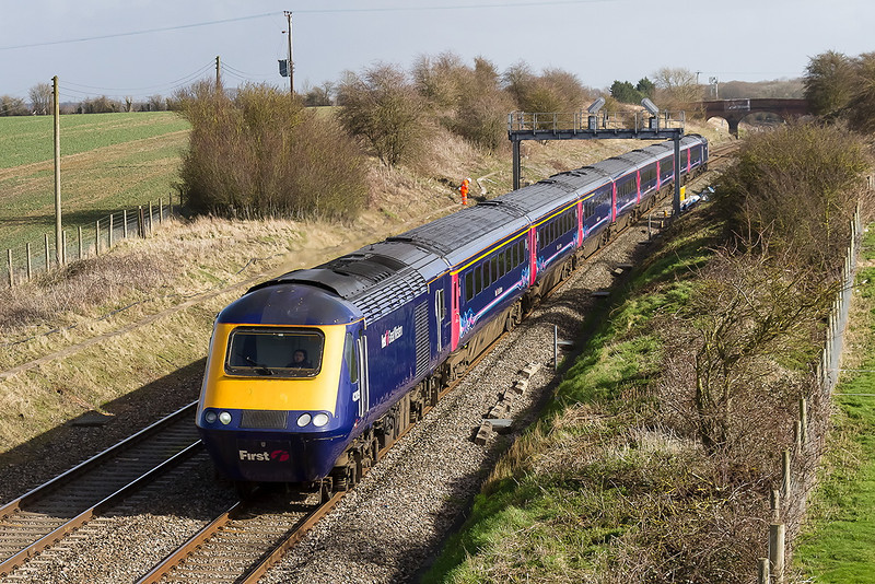 26th Feb 14:  43025 & 43016 form 1C12 the 11.30 Paddington to Bristol Temple Meads.  Seen here at Bourton