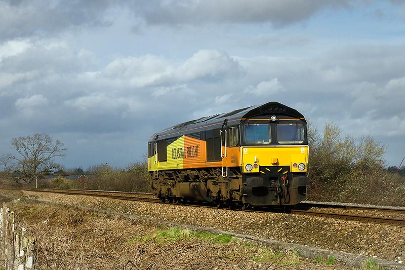 21st Feb 14:  A total surprise was 66846 heading towards Bath & Bristol at Yarnbrook