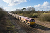 26th Feb 14:  66066 charges through Shrivenham with 6O52 Margam to Dollands Moor steel carriers