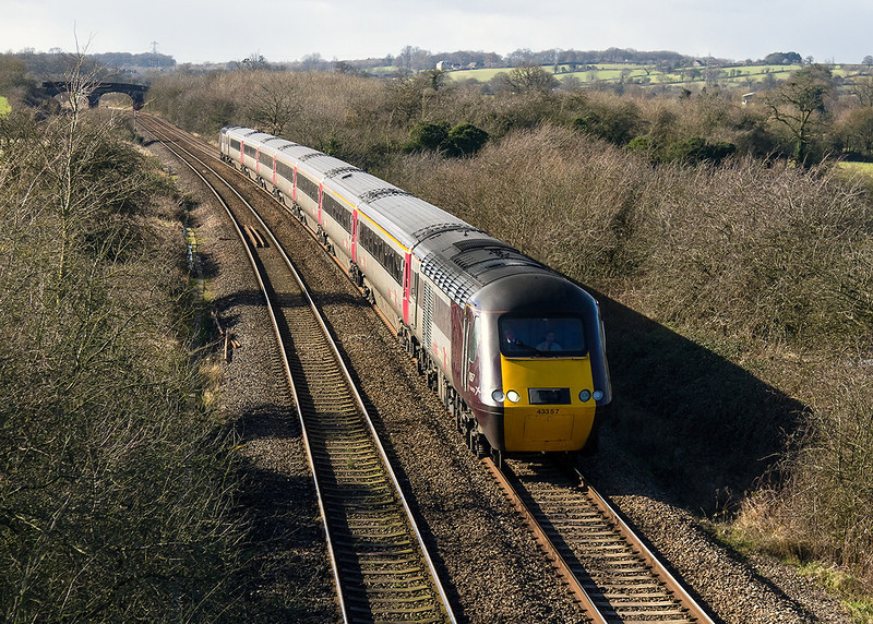 13th Feb 14:  Diverted via Westbury due to flooding in the Bridgewaterarea is the 12.23 Cross country service from Exeter St Davids to Glasgow Central.  Pictured at Fairwood 1S51 is TnT by 43357 & 43303