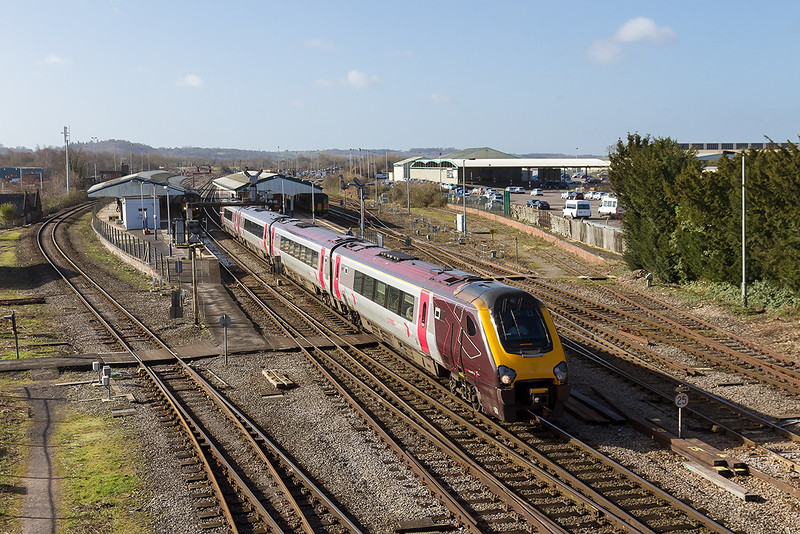 26th Feb 14:  Just 2 hours into it's 11 1/2 hour journey Cross Country Voyager 220012 working 1S45 the 09.23 from Exeter to Aberdean passes through Westbury