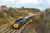 15th Feb 14: Diverted again due to flooding  between Bristol and Taunton is 1V46 theCross Country  06.30 Leeds to Exeter St Davids.  With 43303 on the point it is at Clink Road in Frome