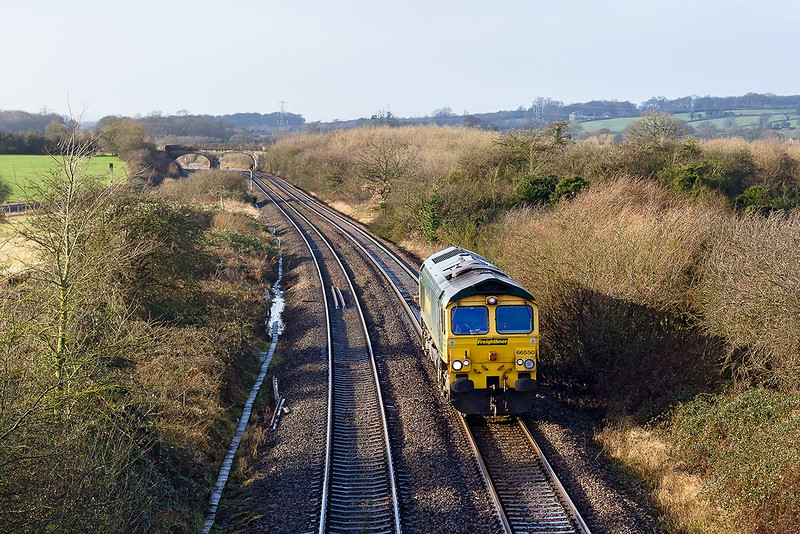 6th Jan 14:  66550 running as the 10.41 from Taunton Fairwater Yard to Westbury.  Captured just East of Fairwood Junction